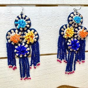 Chico's Bead & Fabric Tribal Boho Style Earrings